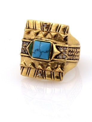 House Of Harlow Cushion Cocktail Ring with Turquoise