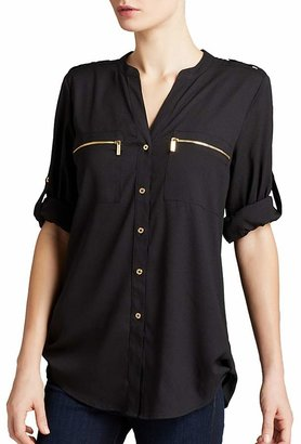 Calvin Klein Zip Pocket Roll Sleeve Shirt $69.50 thestylecure.com