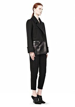 Alexander Wang Double Breasted Leather Combo Peacoat