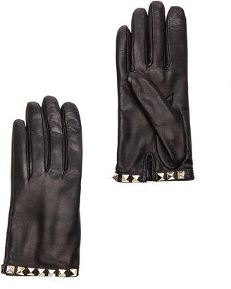 Valentino Rockstud Leather Gloves in Black