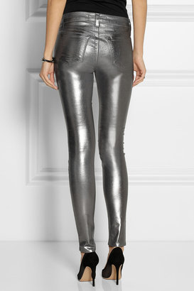 J Brand 815 coated mid-rise skinny jeans