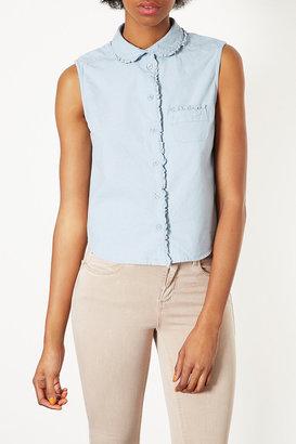 Topshop Chambray Frill Collar Shirt