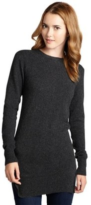 Hayden charcoal back zip long sleeved cashmere tunic sweater