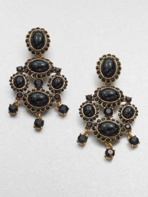 Oscar de la Renta Cabochon Clip-On Chandelier Earrings