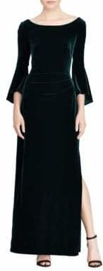 Lauren Ralph Lauren Velvet Bell-Sleeve Gown