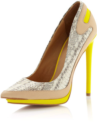 L.A.M.B. Jean Pointy-Toe Platform Pump, Gray/Yellow
