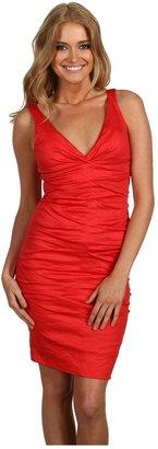 Nicole Miller Cotton Metal V-Neck Tucked Dress (Watermelon) - Apparel