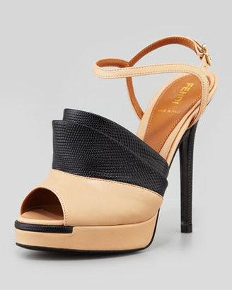 Fendi Anemone Lizard-Stamped/Smooth Sandal, Nude/Black