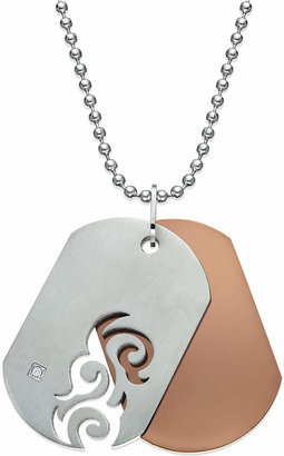 Macy's Men's Diamond Accent Cutout Dog Tag Necklace in Stainless Steel