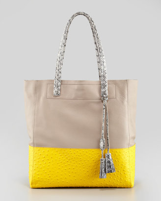 Rafe Suze Medium Leather Tote Bag, Yellow/Putty