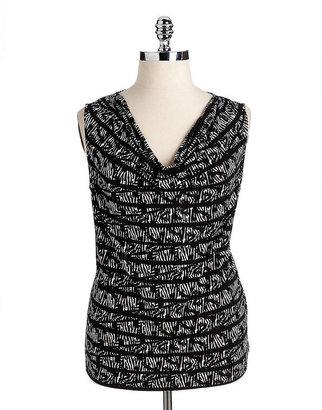 Calvin Klein WOMENS Plus Printed Sleeveless Cowlneck Top