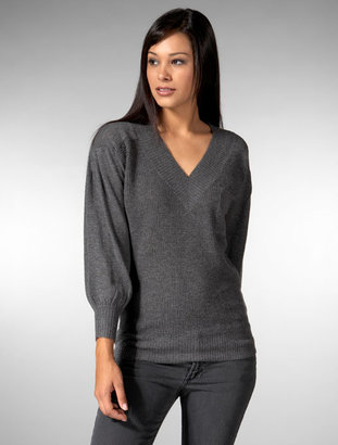 Ever Thermal Stitch Knit V-Neck With Drop Shoulder in Heather Grey