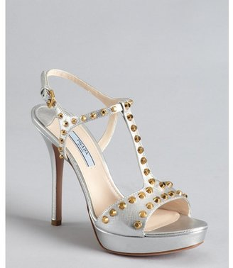 Prada silver crosshatched leather studded t-strap sandals