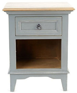 Grayson Bedside Table, Distressed Gray