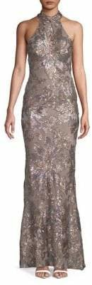 Betsy & Adam Halter Neck Sequin Embellished Sheath Gown