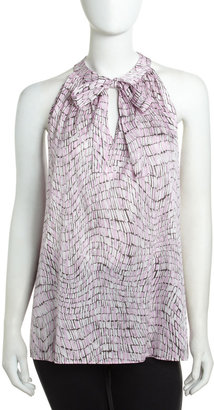 Lafayette 148 New York Printed Tie-Neck Blouse