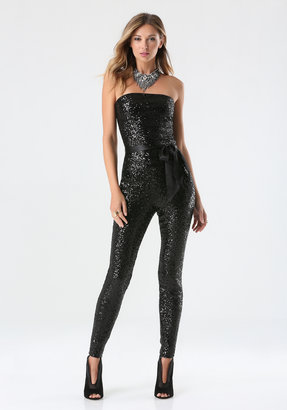 Bebe Strapless Sequin Jumpsuit