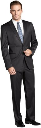 HUGO BOSS Dark Grey Stretch Wool Blend Two-Button Suit With Flat Front Pants