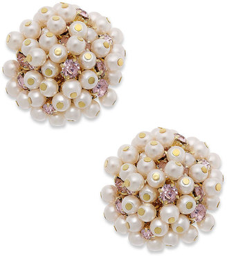 Charter Club Gold-Tone Pink Pearl Cluster Clip-On Earrings