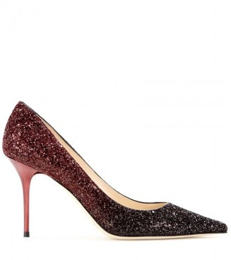 Jimmy Choo Agnes glitter-covered leather pumps