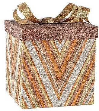 JCPenney Glitter Zig Zag Large Gift Box Christmas Decoration