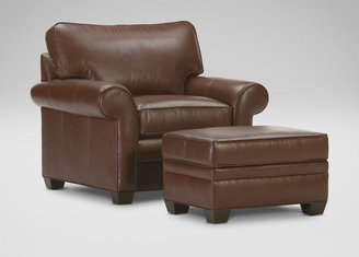 Ethan Allen Bennett In-Stock Roll-Arm Leather Chair, Devine/Acorn