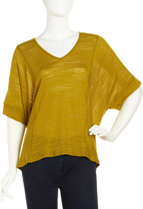 Splendid V-Neck Boxy Top, Lime Green