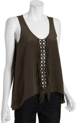 BCBGMAXAZRIA olive silk crisscross and fringe trim 'Mura' tank blouse