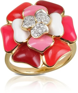 Rosato Tearose - Diamond and 18K Gold Pink Small Flower Ring