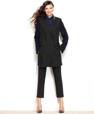 DKNY Coat, Colorblock Wool-Blend Double-Breasted