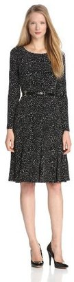Jones New York Women's Printed Long Sleeved Fit and Flare Dress