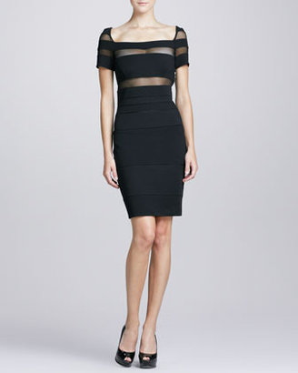 Catherine Malandrino Illusion-Cutout Square-Neck Cocktail Dress