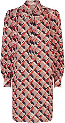 Traffic People Maisie Geometric Shirt Midi Dress In Multicoloured