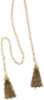 Jones New York Necklace, Worn Gold-Tone Imitation Pearl Tassel Strand Necklace