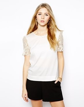 Jovonna Ingrid Top with Embellished Sleeves - White