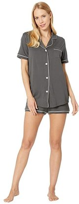 Cosabella Amore S/S Boxer Set (Anthracite/Ivory) Women's Pajama Sets