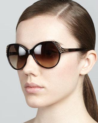 Alexander McQueen Studded Sunglasses, Brown Havana