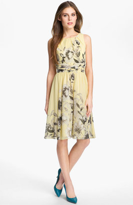 Eliza J Print Fit & Flare Chiffon Dress