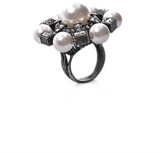 Lanvin Pearl and crystal ring