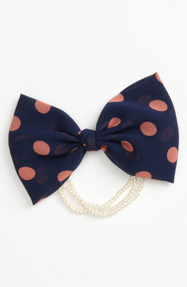 Cara 'Pearly Polka Dot Bow' Ponytail Holder