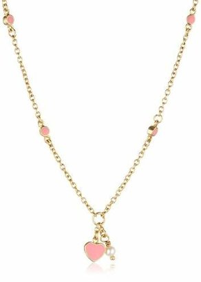 Little Miss Twin Stars 14k Gold-Plated Enamel Heart and White Pearl Chain Necklace