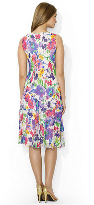 Lauren Ralph Lauren Sleeveless Floral-Print A-Line Silk Dress