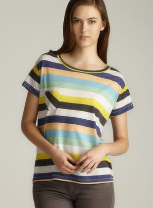 Alternative Apparel Alternative Striped Scoop Neck Pocket Tee