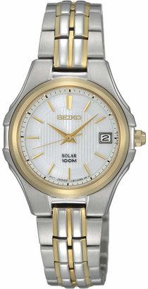 Seiko Watch, Women's Solar Two Tone Stainless Steel Bracelet 28mm SUT038 $265 thestylecure.com