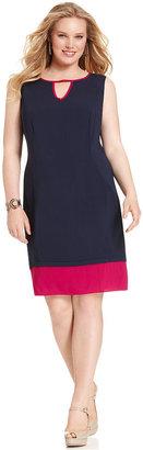 Amy Byer Plus Size Dress, Sleeveless Colorblock Keyhole