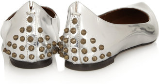 McQ by Alexander McQueen Studded metallic leather ballet flats