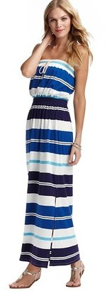 LOFT Striped Strapless Maxi Dress