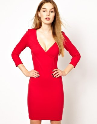 French Connection French Connection;;NOTGOOGLE;; Deep V Pencil Dress - Pink