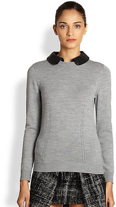 Milly Wool Leather-Collar Sweater