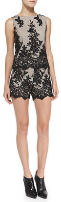 Alice + Olivia Contrast Lace Slim Scalloped Shorts